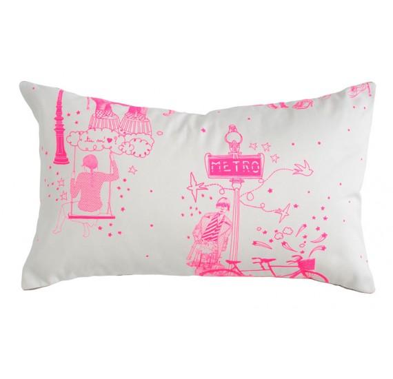 coussin toile de jouy pink 30 les parigotes. Black Bedroom Furniture Sets. Home Design Ideas