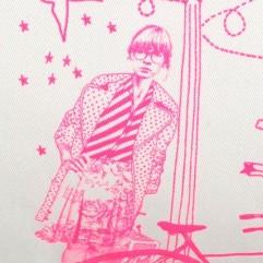 Cuscino Toile de jouy pink fluo 30x50