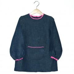Grembiule petit écolier lino jeans / rosa fluo