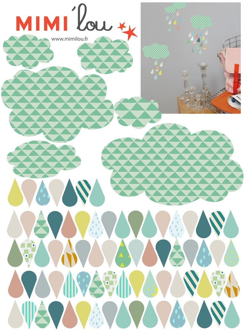 Sticker just a touch nuages gouttes les parigotes - Stickers muraux nuages blancs ...