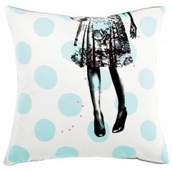 Cuscino Alice pois celeste 50x50