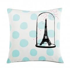 Cuscino Eiffel pois celeste 50x50